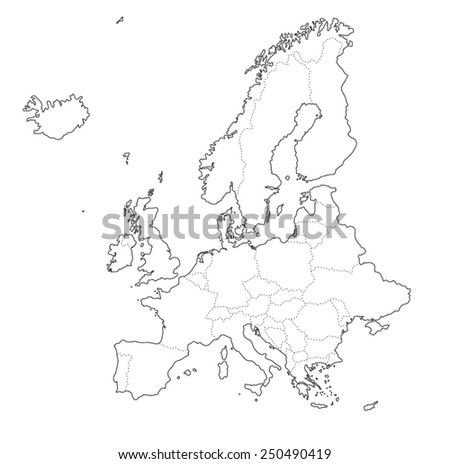 Outline map of Europe on white background. Vector illustration - stock vector