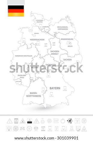 Outline map of Germany with nuclear power plants. Nuclear Power technology thin icon set. - stock vector