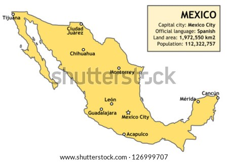 Outline Map Mexico Major Cities Basic Stock Vector - Major cities map of mexico