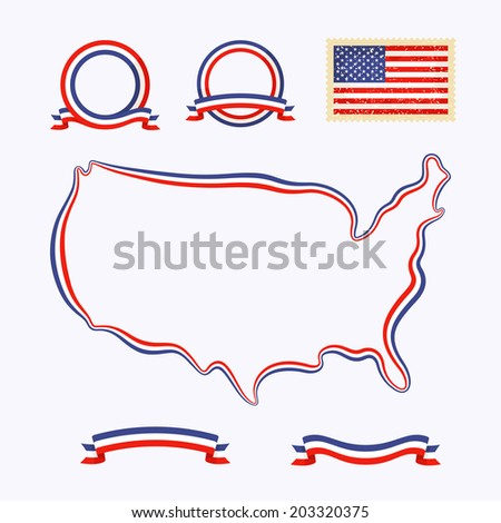 Outline map of USA. Border is marked with a ribbon in the national colors. The package contains a stamp with flag and frames created from ribbons. - stock vector