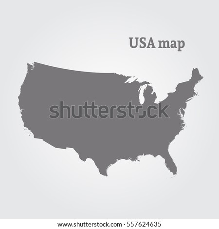 Outline Map Usa Isolated Vector Illustration Stock Vector - Outline map us