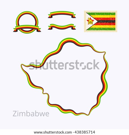 Outline Map Zimbabwe Border Marked Ribbon Stock Vector - Package of map colors