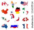 outline maps of the countries with national flags - stock photo