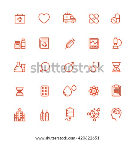 Outline Medical Icons Medicine Icon Ambulance Health - stock vector