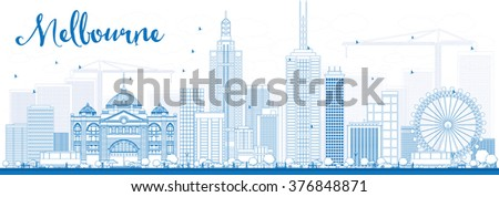 Outline Melbourne Skyline with Blue Buildings. Vector Illustration. Business Travel and Tourism Concept with Modern Buildings. Image for Presentation Banner Placard and Web Site. - stock vector
