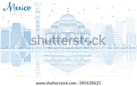Outline Mexico skyline with blue buildings and reflections. Vector illustration. Business travel and tourism concept with place for text. Image for presentation, banner, placard and web site. - stock vector