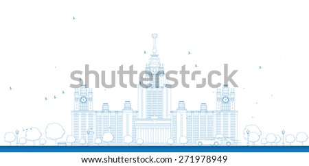Outline MGU. Moscow State University, Moscow, Russia. Vector illustration with cars. Business travel and tourism concept with historic building - stock vector