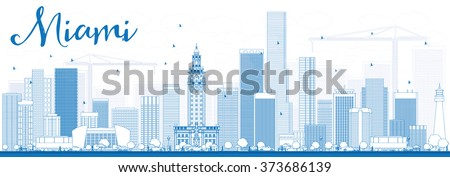 Outline Miami Skyline with Blue Buildings. Vector Illustration. Business Travel and Tourism Concept with Modern Buildings. Image for Presentation Banner Placard and Web Site. - stock vector