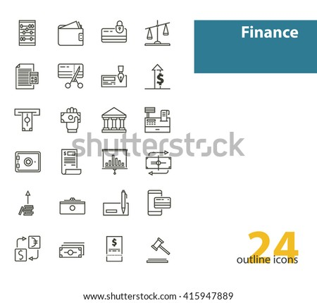 Outline modern vector icons- money, finance, payments. Black color.
