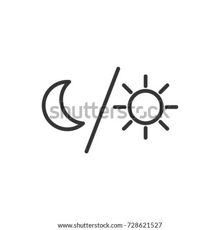 Outline Moon Sun Icon Illustration Vector Stock Vector Royalty Free