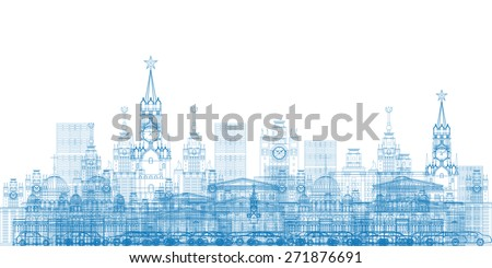 Outline Moscow City Skyscrapers and famous buildings in blue color Vector illustration. Business travel and tourism concept with modern buildings. Image for presentation, banner, placard and web site. - stock vector