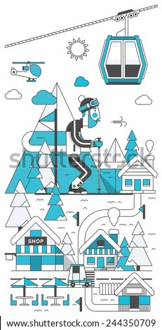 Outline mountain background, vector ski resort with man skiing on mountain. - stock vector