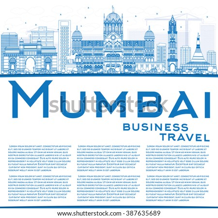 Outline Mumbai Skyline with Blue Landmarks. Vector Illustration. Business Travel and Tourism Concept with Copy Space. Image for Presentation Banner Placard and Web Site.