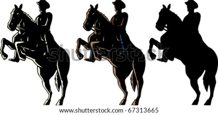Outline of a cowboy and his horse. - stock vector