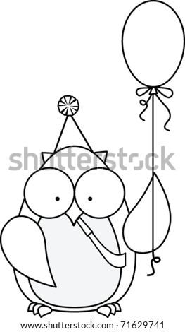 Outline of an Owl Holding a Balloon - stock vector