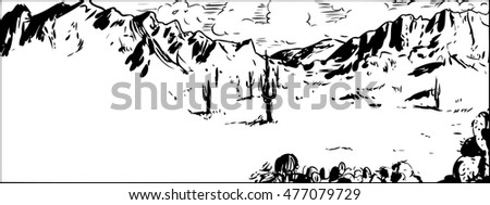 Outline of Arizona desert landscape background with mountains and cactus plants