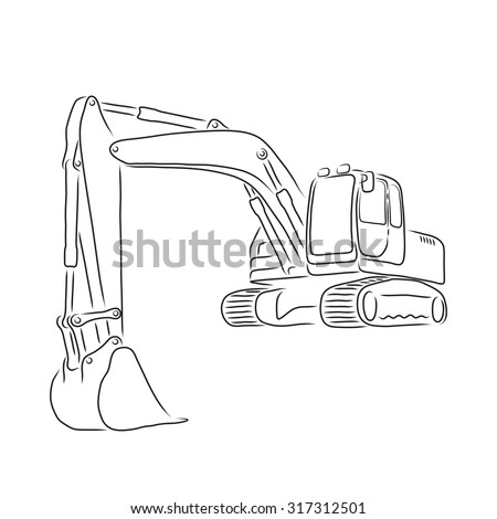 Outline of excavator isolated on white background, vector illustration - stock vector