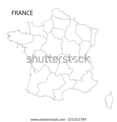 outline of France map (all regions on separate layers) - stock vector