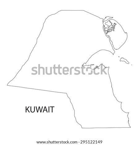 Map Black Outline Kuwait Stock Vector Shutterstock - Kuwait map