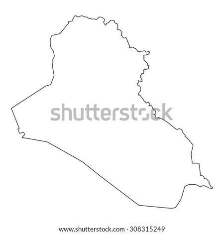 Map Black Outline Iraq Stock Vector Shutterstock - Iraq map outline