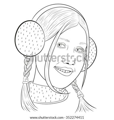 outline of young beautiful smiling girl in headphones. vector. - stock vector