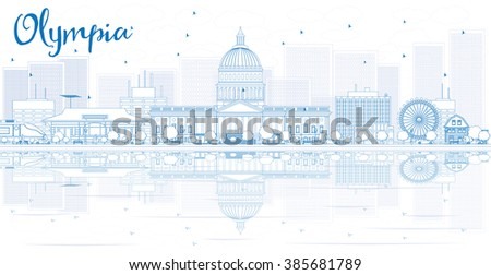 Outline Olympia skyline with blue buildings and reflections. Vector illustration. Business travel and tourism concept with place for text. Image for presentation, banner, placard and web site. - stock vector