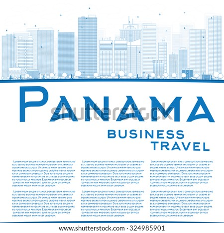 Outline Panama City skyline with blue skyscrapers and copy space. Vector Illustration. Business travel and tourism concept with place for text. Image for presentation, banner, placard and web site. - stock vector