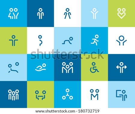 Outline people and family icons. Flat - stock vector