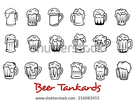 Outline pint tankards set of frothy beer isolated on white background, suitable for pub, Oktoberfest and bar design  - stock vector
