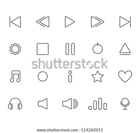 Outline player icons set