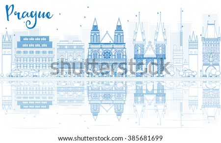 Outline Prague skyline with blue buildings and reflections. Vector illustration. Business travel and tourism concept with place for text. Image for presentation, banner, placard and web site. - stock vector