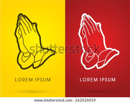 Outline Prayer hand designed using black and white line ,sign, logo, symbol, icon, graphic, vector. - stock vector