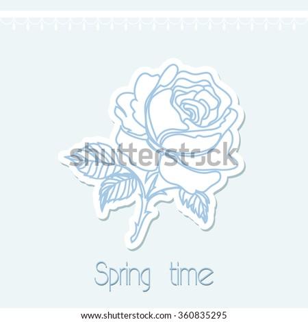 Outline rose flower - stock vector