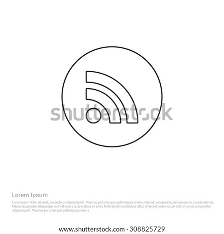 Outline Rss Feed Icon, Vector Illustration, Flat pictogram icon - stock vector