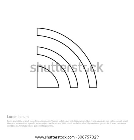 Outline Rss Icon, Vector Illustration, Flat pictogram icon - stock vector