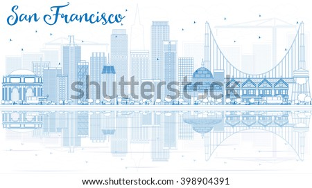 Outline San Francisco Skyline with Blue Buildings and Reflection. Vector Illustration. Business Travel and Tourism Concept with Modern Buildings. Image for Presentation Banner Placard and Web Site. - stock vector