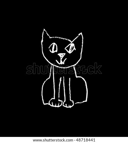 outline scetch of cat vector illustration - stock vector
