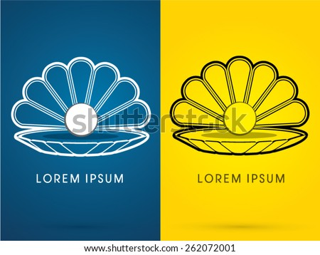 Outline, Sea shell with pearl, Conch ,sign, logo, symbol, icon, graphic, vector. - stock vector