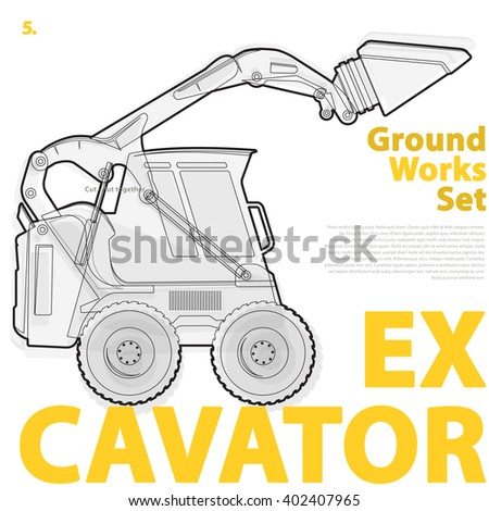 Outline set of construction machinery machines vehicles, excavator. Construction equipment for building. Digger, Crane, Bagger, master vector illustration, nice ground works typography page - stock vector