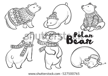 Outline Set Of Polar Bears In Sweater Scarf And Hat With Ornaments Cute Characters