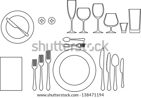 Outline Silhouette Tableware Etiquette Proper Table Stock Vector ...