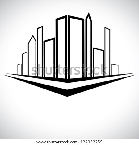 Outline sketch of cityscape urban setting with tall skyscrapers, towers and street - stock vector