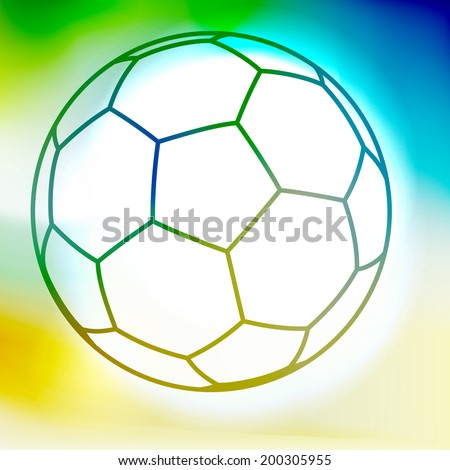 Outline soccer ball on a watercolor yellow-green-blue background  - stock vector