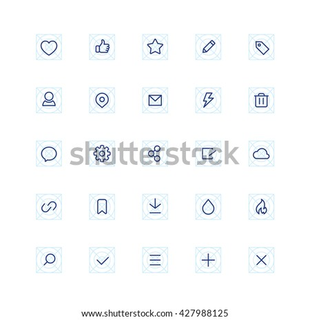 Outline Social Interface Icons Technology Business Network Web Browser - stock vector