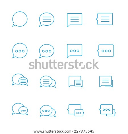 Outline Speech bubble icon set on white. Vector thin Chat icons. Blue outline talk icon. Line chat icons for flat design. Talk baloon icons isolated. Chat speech bubble icons. Talk types chat icons. - stock vector