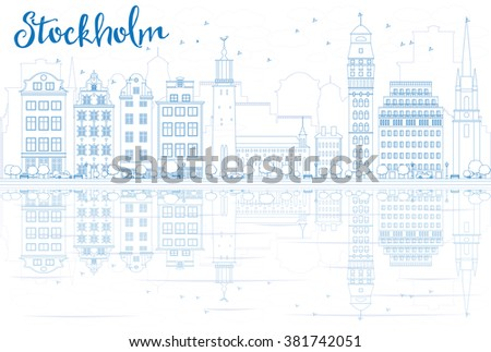 Outline Stockholm Skyline with Blue Buildings and Reflections. Vector Illustration. Business travel and tourism concept with place for text. Image for presentation, banner, placard and web site. - stock vector