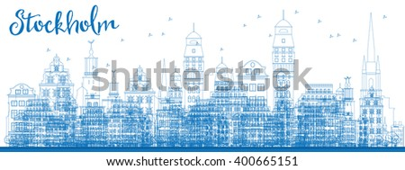 Outline Stockholm Skyline with Blue Buildings. Vector Illustration. Business travel and tourism concept with historic buildings. Image for presentation, banner, placard and web site. - stock vector
