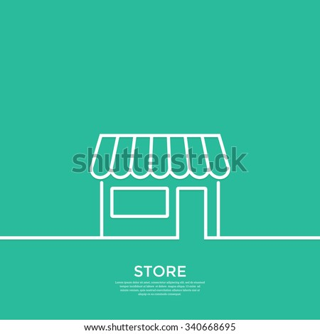 Outline store.  Minimal abstract background. Vector illustration. - stock vector