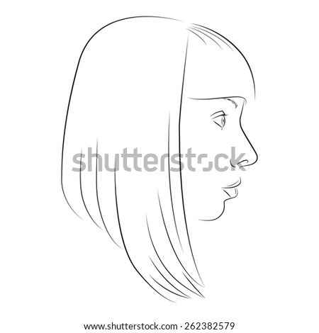 Outline the profile of a girl - stock vector