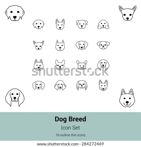Outline thin dog breed icon set - stock vector